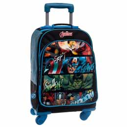 SAC A DOS TROLLEY AVENGERS MARVEL SQUARES 47CM 4 ROUES