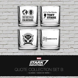 MARVEL COFFRET 4 VERRES IRON MAN STARK INDUSTRIES QUOTES SET B