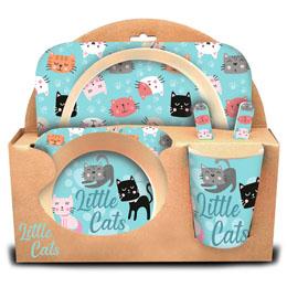 COFFRET DÉJEUNER LITTLE CATS EN BAMBOU