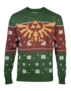 THE LEGEND OF ZELDA SWEATER CHRISTMAS GOLDEN LOGO RED & GREEN