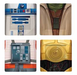 PACK 4 ASSIETTES STAR WARS R2-D2/YODA/LUKE/C-3PO