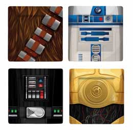 PACK 4 ASSIETTES STAR WARS CHEWBACCA/ R2-D2/ C-3PO/ DARTH VADER