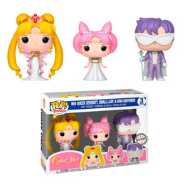 PACK 3 FIGURINES FUNKO POP SAILOR MOON QUEEN SERENITY SMALL LADY KING ENDYMION EXCLUSIVE
