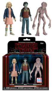 Photo du produit REACTION FIGURE STRANGER THINGS 3-PACK: ELEVEN W/ WIG & UPSIDE DOWN WILL & DEMOGORGON NYCC EXCLUSIVE