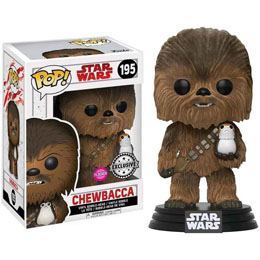 FUNKO POP STAR WARS THE LAST JEDI CHEWBACCA WITH PORG FLOCKED EXCLUSIVE