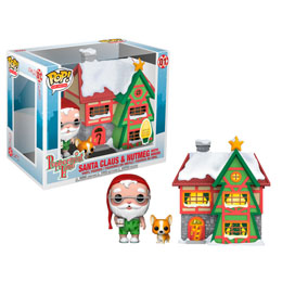 FUNKO POP! CHRISTMAS VILLAGE TOWN & FIGURINES SANTAS HOUSE WITH SANTA & NUTMEG