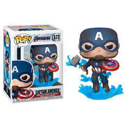 AVENGERS ENDGAME POP! MOVIES VINYL FIGURINE CAPTAIN AMERICA W/BROKEN SHIELD & MJÖLNIR