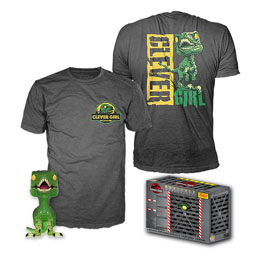JURASSIC PARK POP! & TEE SET FIGURINE ET T-SHIRT CLEVER RAPTOR EXCLUSIVE