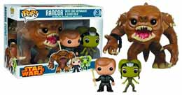 STAR WARS FUNKO POP FIGURINES RANCOR, LUKE SKYWALKER & SLAVE OOLA