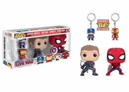CAPTAIN AMERICA CIVIL WAR PACK 4 POP! MARVEL VINYL FIGURINES & PORTE-CLES 9 CM