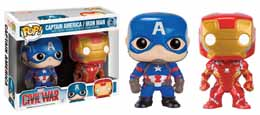 CAPTAIN AMERICA CIVIL WAR PACK 2 POP! MARVEL VINYL FIGURINES CAPTAIN AMERICA & IRON MAN