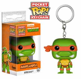 PORTE CLE TMNT TORTUES NINJA MICHELANGELO POCKET POP 4 CM