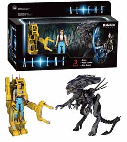 ALIENS REACTION 3 PACK RIPLEY - POWERLOADER - ALIEN QUEEN