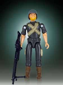 GI JOE FIGURINE JUMBO VINTAGE KENNER MACHINE GUNNER ROCK ´N ROLL