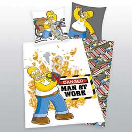 SIMPSONS PARURE DE LIT MAN AT WORK 135 X 200 CM / 80 X 80 CM