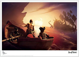 LITHOGRAPHIE SEA OF THIEVES BOAT 42 X 30 CM