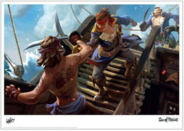 LITHOGRAPHIE SEA OF THIEVES BATTLE 42 X 30 CM