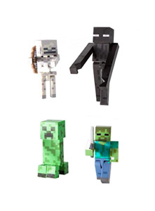 PACK 4 FIGURINES MINECRAFT MOBS 8 CM