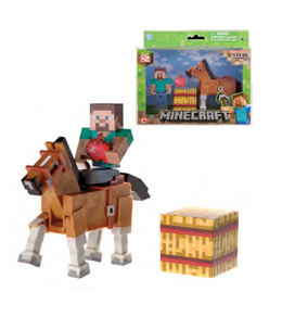 Photo du produit FIGURINE MINECRAFT STEVE & CHESTNUT HORSE 8 CM