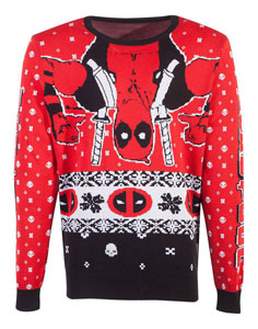 MARVEL SWEATER CHRISTMAS DEADPOOL UPSIDE DOWN