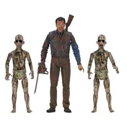 ASH VS EVIL DEAD SERIE 1 3 PACK BLOODY ASH VS DEMON SPAWN 18CM FIGURE