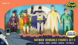 BATMAN 1966 PACK 5 FIGURINES FLEXIBLES SET II 14 CM