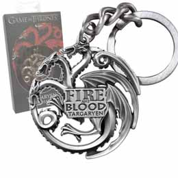 Photo du produit PORTE-CLE METAL GAME OF THRONE TARGARYEN SIGIL GUNMETAL
