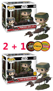 FUNKO POP STAR WARS - PRINCESS LEIA ON SPEEDER BIKE DELUXE POP! + LUKE SKYWALKER ON SPEEDER (CHASE VERSION)