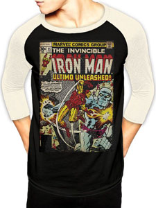 T-SHIRT BASEBALL MANCHES LONGUES IRON MAN COMIC