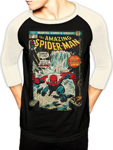T-SHIRT BASEBALL MANCHES LONGUES SPIDER-MAN COMIC