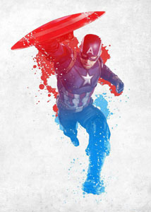 MARVEL COMICS POSTER EN METAL CIVIL WAR RED WHITE AND BLUE CAP AMERICA 10 X 14 CM