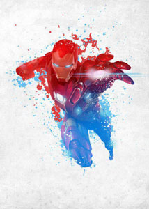 MARVEL COMICS POSTER EN METAL CIVIL WAR RED WHITE BLUE IRON MAN 10 X 14 CM