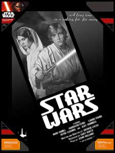 POSTER EN VERRE STAR WARS NOIR ET BLANC LUKE AND LEIA