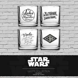 COFFRET 4 VERRES STAR WARS ASSORTIMENT PHRASES CULTES