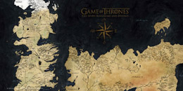 POSTER EN VERRE GAME OF THRONES WESTEROS MAP