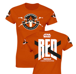 T-SHIRT FEMME STAR WARS EPISODE 7 RED SQUAD ORANGE