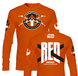 T-SHIRT HOMME STAR WARS EPISODE 7 RED SQUAD ORANGE MANCHE LONGUE