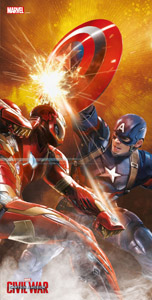 CAPTAIN AMERICA CIVIL WAR POSTER EN VERRE FIGHT