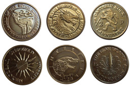 GAME OF THRONES PIECES DE COLLECTION HALF-PENNIES OF 6 HOUSES