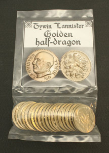 GAME OF THRONES PIECES DE COLLECTION TYWIN LANNISTER GOLDEN HALF-DRAGONS