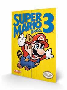 SUPER MARIO BROS. 3 TABLEAU BOIS NES COVER 40 X 60 CM