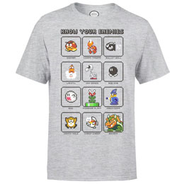 NINTENDO T-SHIRT MARIO KNOW YOUR ENEMY