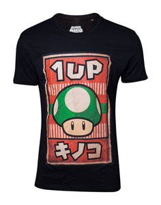 NINTENDO T-SHIRT SUPER MARIO PROPAGANDA POSTER 1-UP MUSHROOM