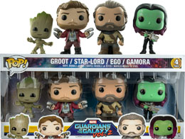 GUARDIANS OF THE GALAX VOL 2 PACK 4 FUNKO POP DANCING GROOT, STAR-LORD, EGO & GAMORA