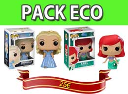 PACK 2 FIGURINES FUNKO POP DISNEY CINDERELLA ET ARIEL